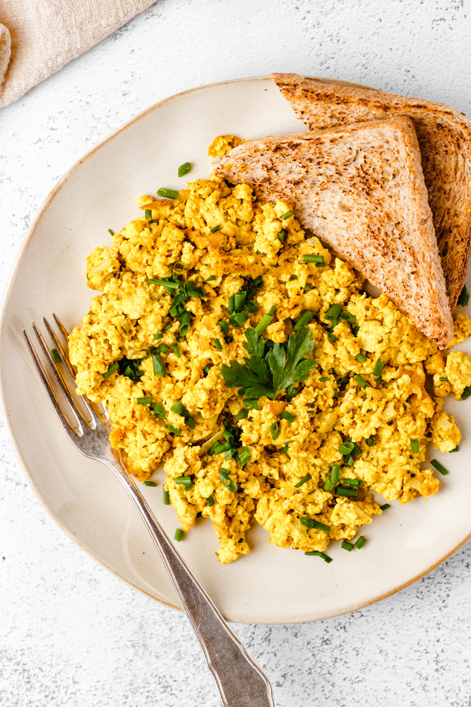 Vegan Scrambled Eggs On A Plate