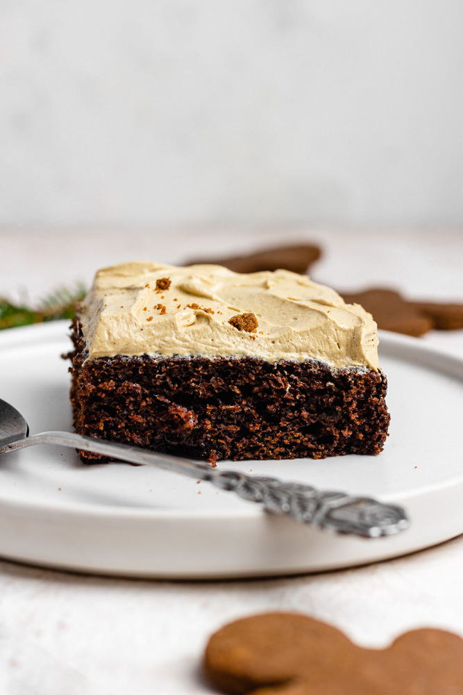Slice Of Sheet Cake With Molasses Frosting