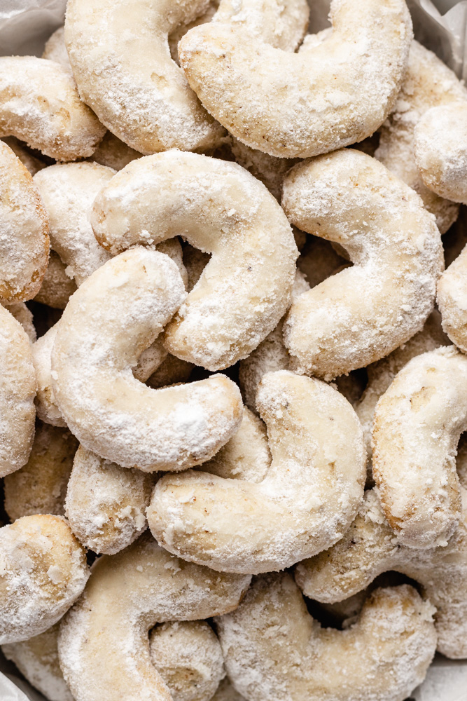 Closeup Of Vegan Crescent Cookies
