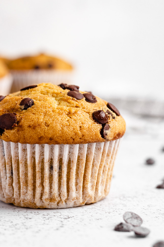 Close Up Of Chocolate Chip Muffin
