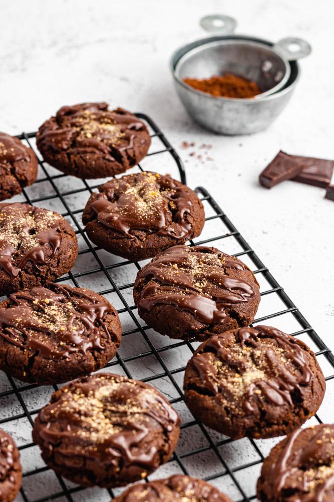 Chocolate Cookies On Cooling Rack