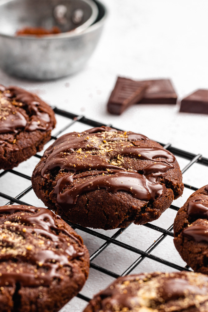 Close Up Of Chocolate Orange Cookies Sprinkled With Orange Zest