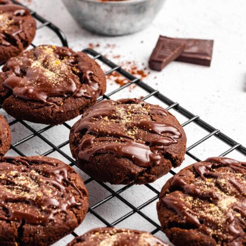 Vegan Chocolate Orange Cookies Drizzled With Dark Chocolate