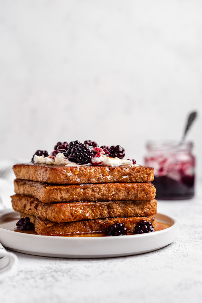 Vegan Cinnamon French Toast On While Plate