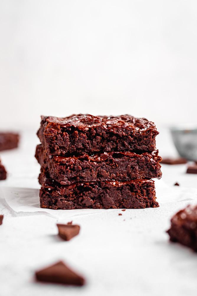 Stack Of Fudgy Vegan Brownies