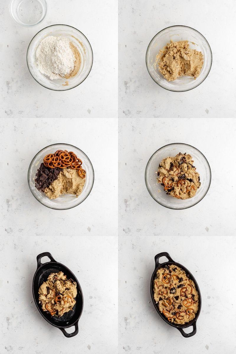 Přidejte nasekanou čokoládu a preclíky a zamíchejte. Těsto pak dejte do připravené litinové pánve.