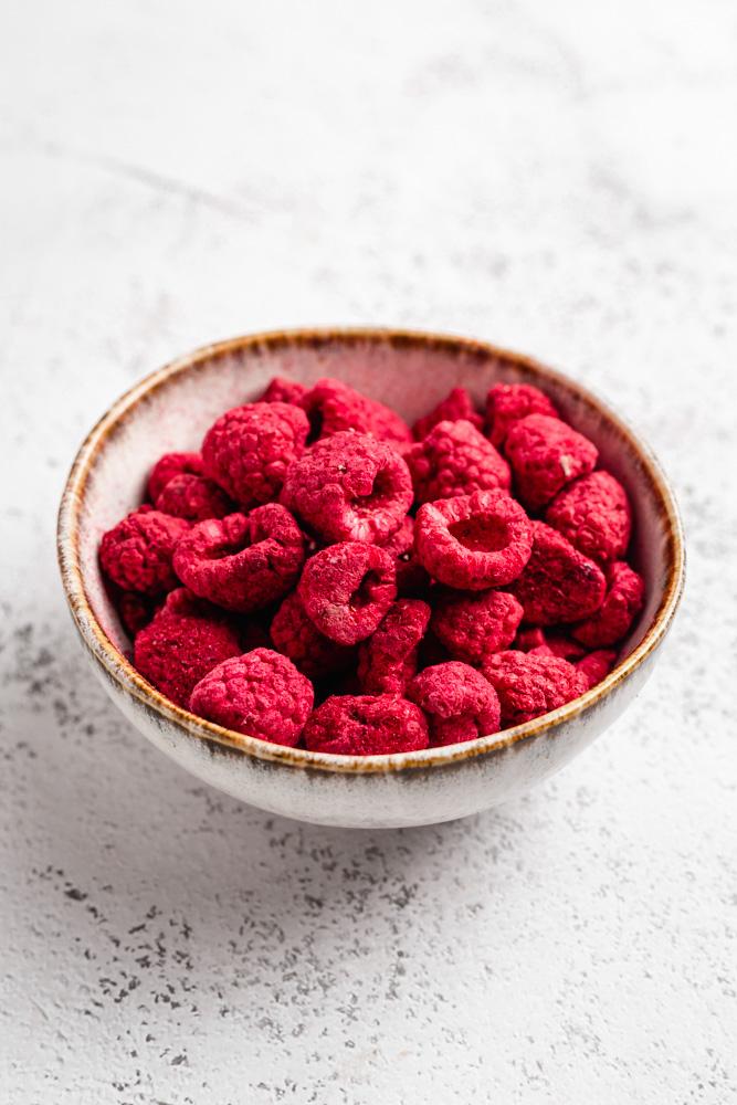 Freeze Dried Raspberries In A Bowl