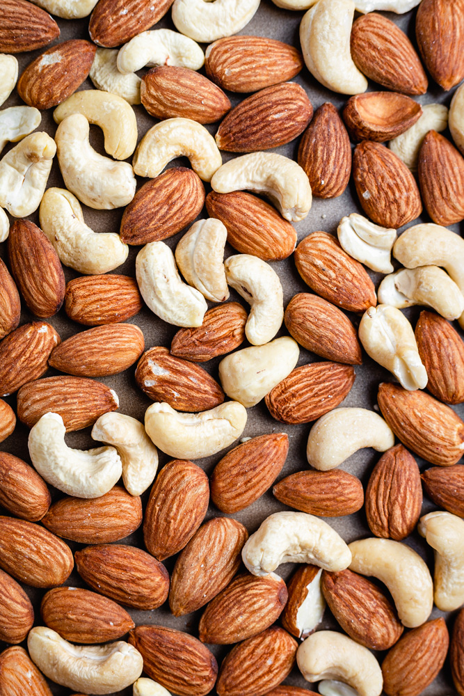 Raw Almonds and Cashews On Baking Tray