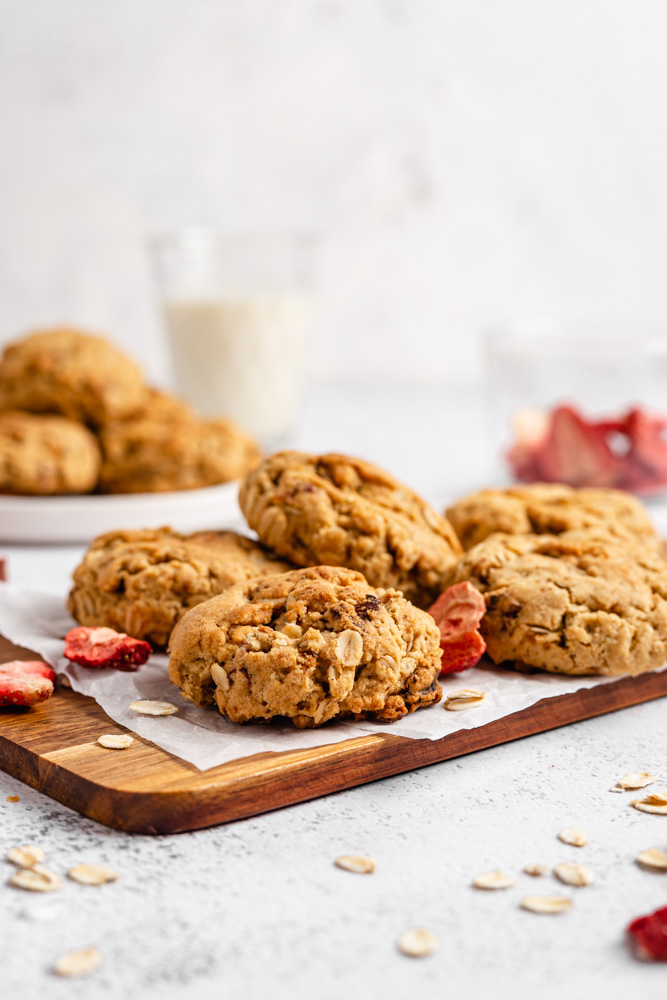 Strawberry cookies on wooden desk