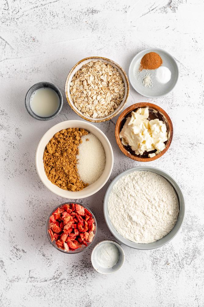 Ingredience na ovesné sušenky