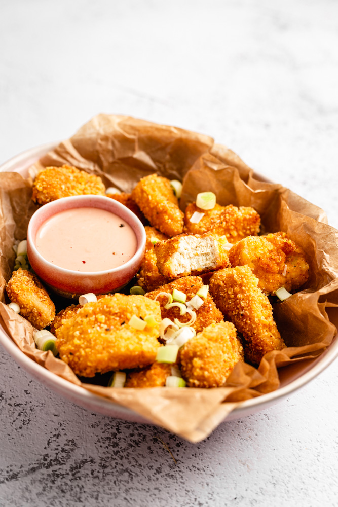 Tofu Nuggets In Bowl With Dipping Sauce