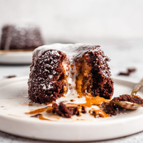 Vegan Biscoff Chocolate Lava Cake Served With Coconut Cream