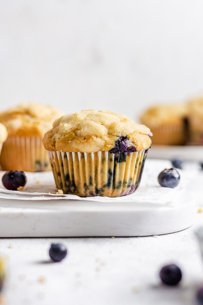 Blueberry Muffins On Parchment Paper