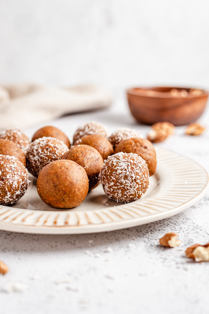 Carrot Energy Balls On A Plate