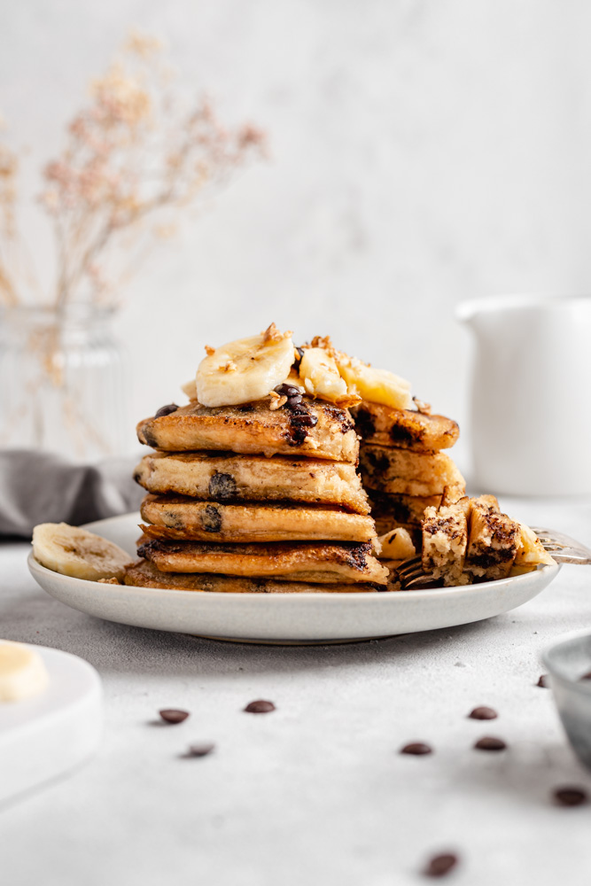 Cut Stack Of Fluffy Pancakes