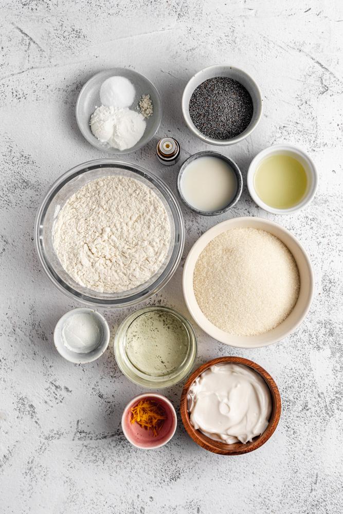 ingredients for lemon loaf cake