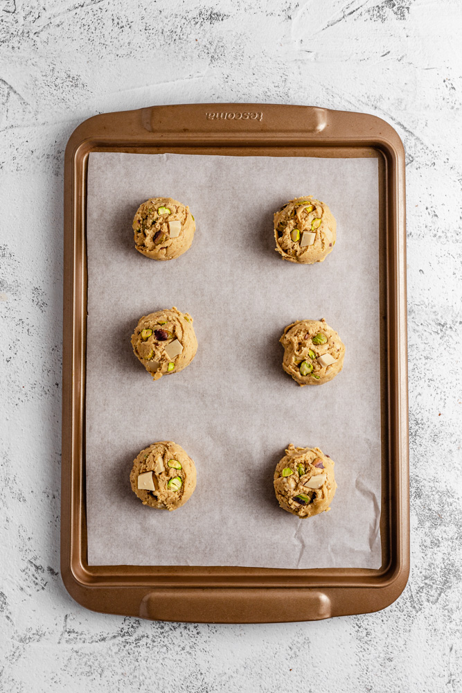 Cookie Dough Balls On Baking Tray Before Baking