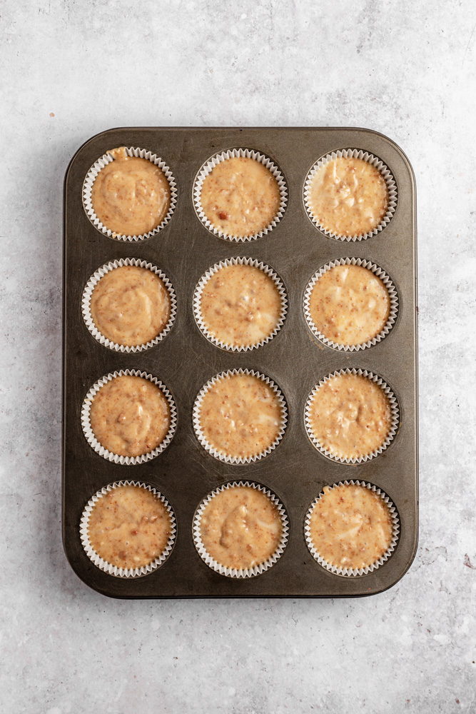 Cupcakes in a pan before baking