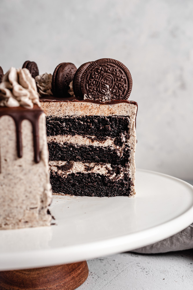Three layer Oreo cake decorated with Oreo buttercream frosting