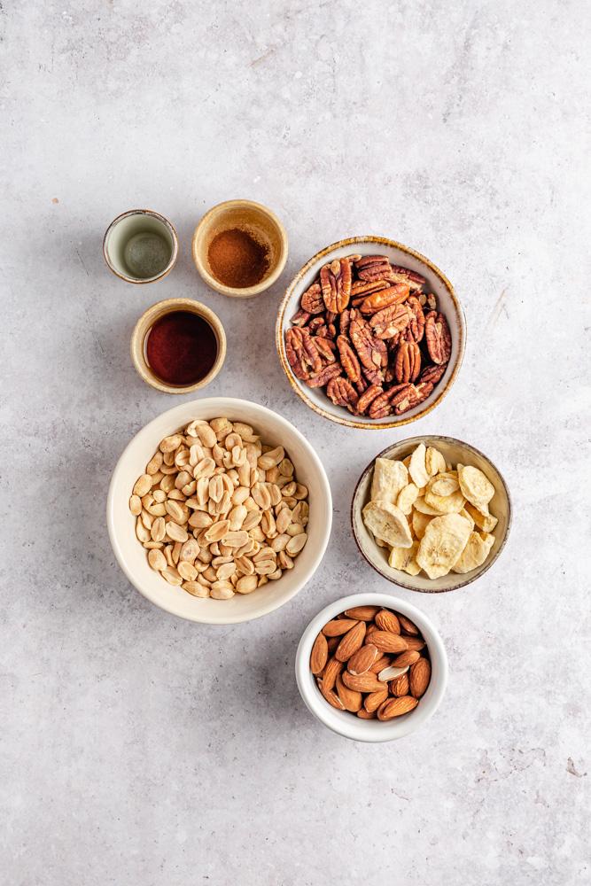 Ingredients for homemeda banana nut butter
