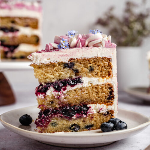Slice of vegan cake on a plate