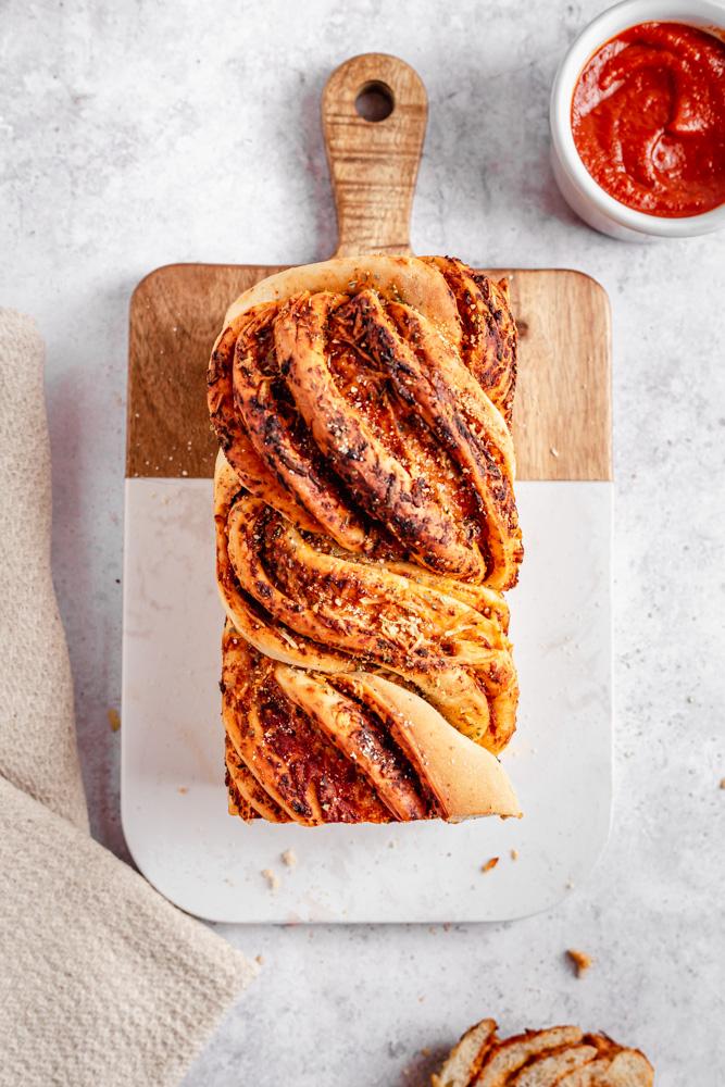 Savory plant-based babka loaf