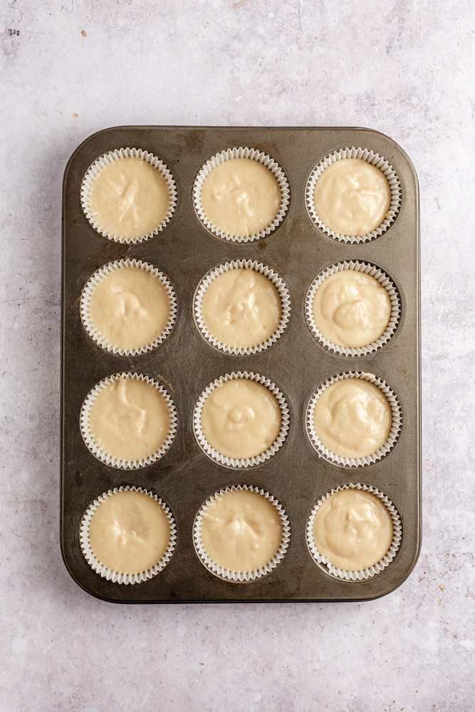 Batter in muffin pan before baking