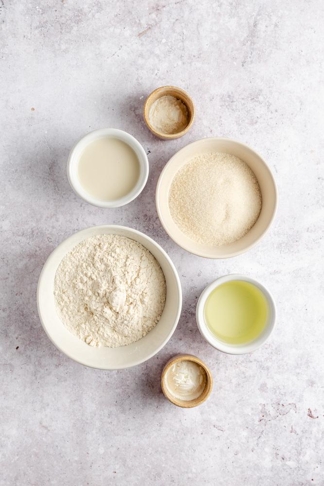 Ingredience na domácí vegan piškot